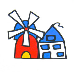 box print (muffett68 ) Tags: blue red art windmill yellow outline primarycolors childlike
