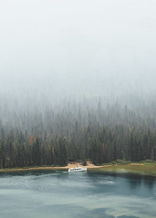 Fade Out (Brendan T Lynch) Tags: park usa lake mountains nature ferry forest landscape outdoors boat haze montana smoke hike glacier adventure national glaciernationalpark overlook pinetrees