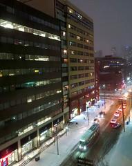 That Winter Thing (Georgie_grrl) Tags: winter snow toronto ontario storm cold night lights traffic ttc yuck streetcar kingstreetwest canonpowershotelph330hs mynewdarkpinkside freezingrainpossibletoo butwehavebeenspoiledforalongtimethisyear