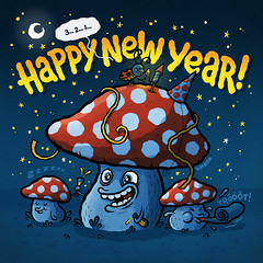 Happy New Year! (Michael Hacker Illustration) Tags: illustration mushrooms artwork newyear hacker pilze fliegenpilze happynewyear fliegenpilz flyagaric michaelhacker illustratedtype happy2016