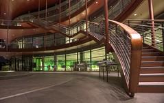 Science, but not rocket science (PeterThoeny) Tags: california red building geometric architecture night stairs hall raw stanford curve rotunda atrium hdr auditorium stanforduniversity jameshclarkcenter 2xp photomatix fav200 nex6 selp1650