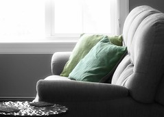Sunday Afternooon (nikagnew) Tags: winter blackandwhite sunlight green window comfortable aqua turquoise pillows sofa comfy selectivecolour lastdayofjanuary