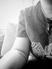 (amy hit the atmosphere) Tags: portrait blackandwhite selfportrait girl monochrome tattoo keys person necklace human bandw skeletonkeys
