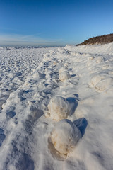 Ice Balls Created During Winter Storms in Rosy Mound Natural Area along Lake Michigan (Lee Rentz) Tags: park winter wild usa snow cold ice beach nature water america season outdoors coast frozen midwest waves unitedstates natural snowy michigan dunes seasonal freezing lakemichigan trail shore northamerica icy storms spheres sanddunes spherical ridges wintery wintry midwestern iceballs rosymoundnaturalarea iceboulders leerentzcom ottawacountypark