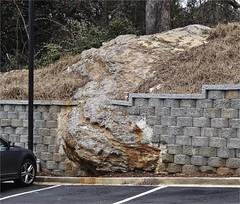 Rock Outcrop along Delk Road   Marietta, GA (steveartist) Tags: cars rocks vegetation walls geology rockformations parkinglots carparks curbs 2016 outcrops stevefrenkel geologicalforms phototoaster sonydscwx220