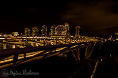 Science World with Canoe Bridge (Syd Rahman) Tags: new travel light canada night vancouver lowlight nikon downtown bc outdoor iso falsecreek rahman dslr today scienceworld walkingbridge followme sydur downtownvancouver brithishcolumbia d7000 olympicvillagevancouver nikond7000 sydurrahman