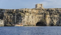 Gozo (Preston Ashton) Tags: ocean blue sea sky cliff water sunshine boat ship sunny malta sail cave mast gozo
