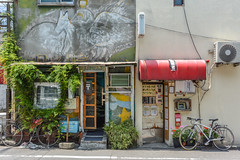 Golden Gai (roevin | Urban Capture) Tags: tokyo japan store street wall facade poster posters wood window urban center air conditioner color grey building old machine machines front tree bicycle decay goldengai scene streetpf