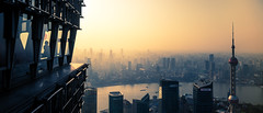 observation deck (Rob-Shanghai) Tags: china leica city windows tower river smog cityscape view shanghai pano pearl cinematic jinmao observationdeck puxi leicaq