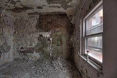 Mi hand nuh Slippery like Butter pon di Bread, So mi Squeeze di Trigger, Release di hammer Head (RiddimRyder) Tags: old windows winter light brick abandoned beauty canon hospital dark death peeling paint decay chips elderly age urbanexploration care peel abandonment crumbling urbex riddimryder