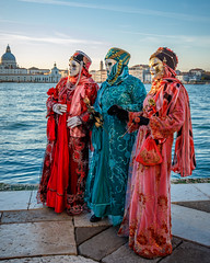 Three Ladies at Sunset (Kayla Stevenson) Tags: venice costume model piazza sangiorgiomaggiore