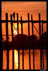 Setting sun at Amarapura (Dan Wiklund) Tags: bridge sunset sun reflection water evening women footbridge burma sillouette myanmar d800 amarapura ubein 2014