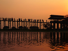 Sunset at U Bein Bridge (GillWilson) Tags: myanmar amarapura ubeinbridge taungthamanlake