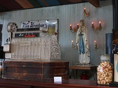Our Lady of the Cash (Fraser P) Tags: sea newzealand beach weather cafe harbour wellington petone lowerhutt