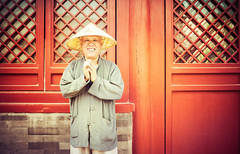 Happy Guy in China (Stuck in Customs) Tags: china red people orange man color colour smile hat smiling horizontal person asia day traditional beijing may daily hdr trey eastasia 2014 ratcliff northernchina hdrphotography hdrphoto hdrtutorial stuckincustoms p2016 treyratcliff stuckincustomscom sonya7r portraitandcandid cfiled2015