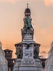 Piazza Castello al Tramonto (AGB Milano) Tags: sunset italy milan tramonto milano olympus piazzacastello em52