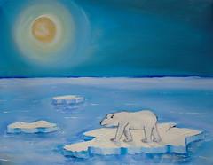 Polar Bear called Boris (nicholas marsh) Tags: bear blue sun cold naked truth artist gallery floating painter iceberg polar wwf antarctic saatchi gallery5 enviroment nicholasmarsh art5gallery