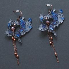 papillons bleus (fabrikarine) Tags: fleur vintage collier bijoux plastic boucle fou cuivre doreille