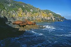 Wreck of the Union Star, Lamorna, Cornwall (saffron100_uk) Tags: sea coast cornwall shoreline cliffs lifeboat shipwreck wreck olympusom2 wreckage kodachrome64 lamorna rnli slidescan westpenwith unionstar maritimedisaster solomonbrowne penleelifeboatdisaster lifeboatdisaster hasselbladx5filmscanner mvunionstar boscawencove