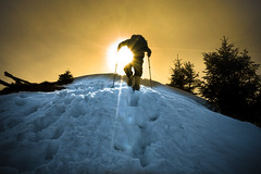 summit (Blochmntig) Tags: sunset sunlight snow mountains silhouette trekking switzerland hiking naturallight climbing summit lightandshadow wandern sunbeams winterwonderland swissalps gebirge alpstein winterlandschaft appenzellerland