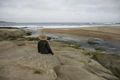She shoots selfies on the seashore/Carmel River Beach (LOLO Italiana) Tags: ca beach landscape sand seascapes selfportraits pacificocean carmel rockformations carmelriverbeach carmelriver oceanwaves carmelriverlagoon loloitaliana loridambrosio figureontherocks