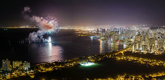Magical City (Marvin Chandra) Tags: panorama night hawaii cityscape oahu fireworks 85mm pacificocean diamondhead 2016 d600 marvinchandra