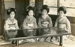 Around a Lacquer Table 1926 (Blue Ruin 1) Tags: 1920s japan table japanese postcard maiko geiko geisha hiroko sancho 1926 kanzashi lacquerware hatsuko apprenticegeisha taishoperiod obiage haneri pocchiri suzuei
