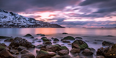 The month before the midnight sun (Matthew Montgomerie) Tags: ocean travel light sunset sea sky colour nature norway clouds dark norge nikon long exposure darkness sundown north adventure d750 polar northern mountians arcitc