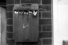 Cigarette gaol (Apionid) Tags: film monochrome rollei nikon cigarette butts ashtray pictogram fm2n werehere day109366 retro400s hereios 366the2016edition 3662016 18apr16