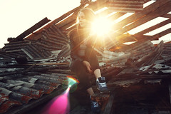Olya (Vendigo) Tags: sunset summer sunlight black sexy girl beauty outdoors boards garbage ruins sitting young atmosphere sneakers nostalgia jeans jacket slate sorrow