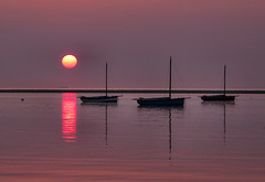 Not Japan, Meols Merseyside (Dancin K & H) Tags: sunset japan boats hue wirral merseyside meols