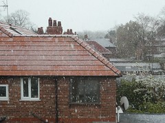 It's nearly May and it's snowing in Manchester.... (stillunusual) Tags: city uk england sky urban snow manchester cityscape streetphotography urbanlandscape mcr urbanscenery 2016 levenshulme