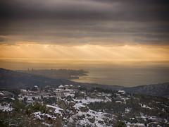 Beirut, Lebanon (Ramy.) Tags: sunset sea lebanon snow church yellow four cuatro lumix gold soleil mediterranean mediterraneo nieve hill coucher du panasonic micro neige beirut beyrouth liban thirds zabougha lbano tercios mirorless lumixg45200mmf456 dmcgx7