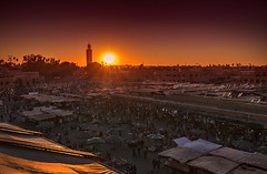 Red.... (Bruno E. Photography) Tags: light sunset red orange sun nature sunrise square morocco marrakech koutoubia maraca elfna