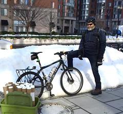 Rod on Mass Ave (Mr.TinDC) Tags: friends people snow bike bicycle cyclists washingtondc dc rod messenger courier massachusettsave blizzardof2016