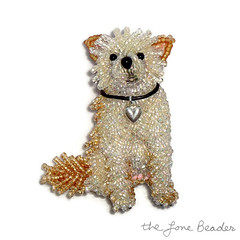 Custom Beaded Choodle Dog Pin Pendant (The Lone Beader) Tags: pets chihuahua dogs fashion beads amazon designer handmade embroidery jewelry poodle etsy beading beaded beadwork petportrait sterlingsilver chipoo beadembroidery