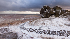 Edale Rocks (Paul Newcombe) Tags: uk winter england mountain snow storm landscape countryside nationalpark derbyshire january windy moors british peaks moorland highpeak kinderscout 2016 edalerocks canon1635f4l paulnewconbephotography