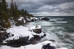 lake superior winter storm (twurdemann) Tags: longexposure winter sky snow seascape ontario canada storm blur nature water clouds landscape rocks december waves wind horizon shoreline scenic surge lakesuperior northernontario stonebeach neutraldensityfilter nikcolorefex viveza sawpitbay highway17n procontrast hoyandx8 06ndsoftgrad detailextractor gnd2s xf1855mm leeseven5 fujixt1 cottrellcove