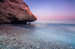 Sin perder el tiempo (sergio estevez) Tags: color luz azul marina landscape atardecer mar agua playa paisaje arena cielo calma rocas nerja espuma largaexposicin horaazul tokina1116mmf28 sergioestevez