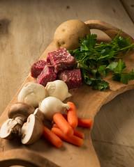 Stew Prep (Dave6163) Tags: wood food mushrooms stew potatoes beef board onions cutting carrots rawfood woodtable strobist