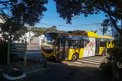 Island Bay - The Parade (andrewsurgenor) Tags: city newzealand urban bus buses yellow electric busse transport transit nz wellington publictransport streetscenes omnibus trolleybus obus trolleybuses citytransport trackless nzbus gowellington