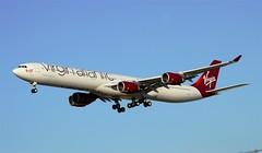 """Virgin Atlantic A340-600 """"Varga Girl"""" (G-VGAS) LAX Approach 1 (hsckcwong) Tags: lax virginatlantic a340600 vargagirl virginatlanticairways gvgas"""