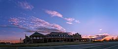 pink swine sunset (27/366) (severalsnakes) Tags: door sunset sky panorama cloud building brick ice window architecture clouds fairgrounds stitch pentax pano missouri microsoft ks2 sedalia swinepavilion saraspaedy kalimar357028