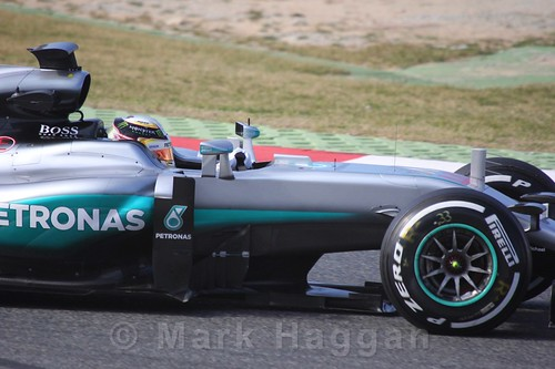 Lewis Hamilton in the Mercedes at Formula One Winter Testing 2016