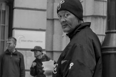 13th Street, 2015 (Alan Barr) Tags: street people blackandwhite bw philadelphia monochrome mono blackwhite candid streetphotography olympus sp streetphoto omd 2015 em5