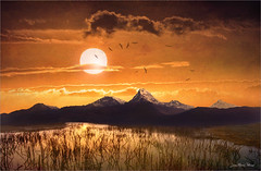 Hot point (Jean-Michel Priaux) Tags: sunset sky sun mountain art nature sepia photoshop painting landscape paint reflect paysage savage terrific mattepainting marecage marécage priaux terrificsky