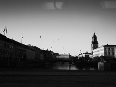 (jeanpichot) Tags: city morning blackandwhite bw reflection window canal gothenburg tram passing ricoh clearsky
