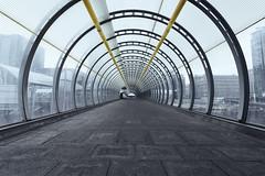 Poplar walkway (andre adams) Tags: uk bridge urban london yellow architecture buildings vanishingpoint poplar cityscape unitedkingdom perspective symmetry walkway radial