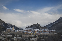 Snowy morning (Michel Couprie) Tags: city morning winter sky mountain snow france skyline clouds montagne canon eos town citadel michel brianon ville vauban citadelle hautesalpes couprie ef100mmf28lismacro