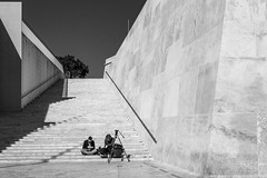 Angles (kurjuz) Tags: blackandwhite stone architecture stairs shadows contemporary angles malta renzopiano valletta citygate converginglines
